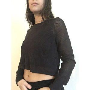 Charcoal semi-sheer knit crop top